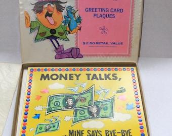 Vintage Greeting Card Plaques Hi Sign Charm Craft 1970s Humorous Cardboard Wall Desk Decor Original Box 4 Designs Collectible Retro Funny