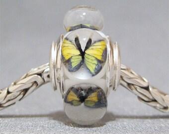Butterfly Bead Handmade Lampwork Euro Charm Limited Edition Yellow Butterflies II