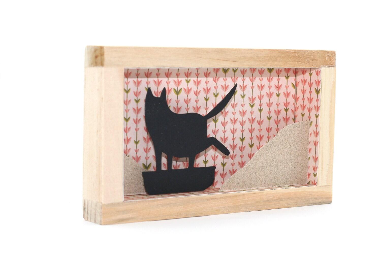 Katze-gerahmte Kunst shadowbox lustige Katze Kunst schwarze