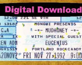 Mudhoney Concert Ticket Stub, PHOTOSHOP FILE