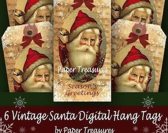 6 Vintage Santa Digital Hang Tags