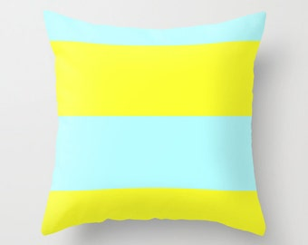 Blue and Yellow Pillow Cover, Blue Pillow Cover, Yellow Pillow Cover, Pale Blue and Yellow Pillow, Colorblock Pillow, Pillow Covers