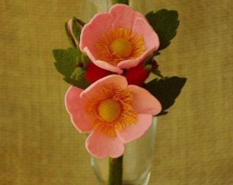 Felt flower headband Dog-Rose flower girl wedding flower crown floral headband felt  flower Dog-Rose crown 100% wool felt for girl mother