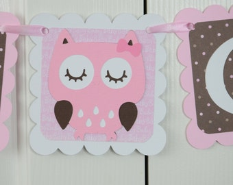 It's a Girl Banner, Girl Banner, Pink Owl Banner, Owl Baby Shower, Owl Nursery, Owl Banner, Pink, Light Pink and Brown