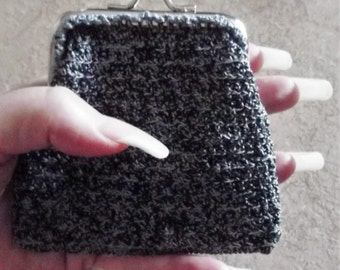Bonnie's OOAK Crochet Antique Blue/Black Cotton Thread item  Snap Frame  Purse Holds Coins / Money & Credit Card  @ cyicrochet