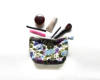 Sac à cosmétiques tissu Vintage Floral violet & bleu ciel
