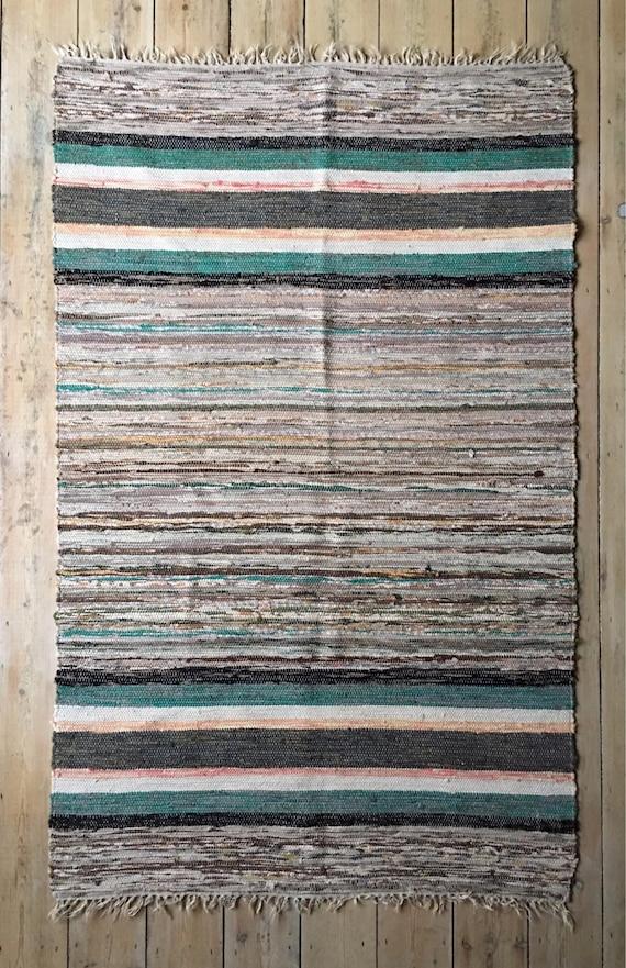 Vintage Swedish trasmattor rag rug traditional folk woven design circa 1960's
