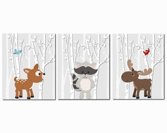 Woodland Nursery, Forest Animals, Nursery Art, Kids Wall Art, Woodland Animal Decor, Girl, Boy, Toddler Room, Set of 3, Prints or Canvas