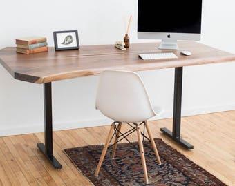 Live Edge Work Desk | Contemporary Office Furniture | Rustic Industrial Desk | Black Walnut Natural Edge Slab | Modern Work Table | Bohemian