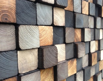 Escultura de madera de la pared del arte-madera reclamada-escultura rústica
