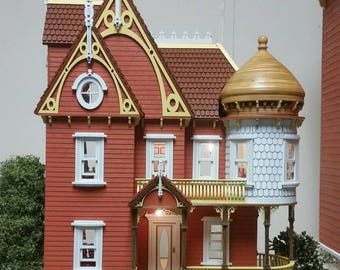 1:24 Scale Wooden Victorian Dollhouse Mansion Kit, Hannah Series