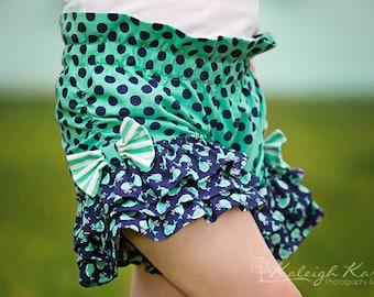 Raelyn's Triple Ruffle Bow Shorts PDF Pattern Sizes 6/12m to 8 girls