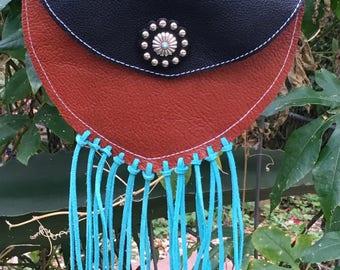 Turquoise fringe crossbody bag