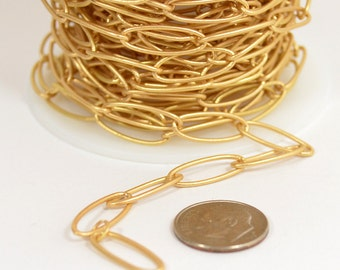 Long Cable Chain - Matte Gold - CH23 - Choose Your Length