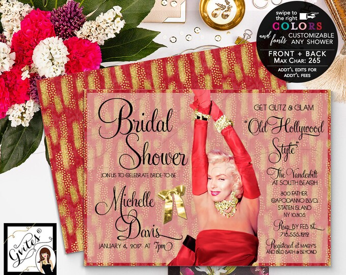 Holiday Bridal Shower Red and gold bridal shower invitation, Marilyn Monroe invites, Old hollywood style party lingerie, wedding shower 7x5.