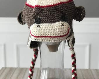 Classic Old Fashioned Sock Monkey Hat - Newborn to Adult - Baby Gift - Baby Shower Gift