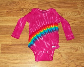 Tie dye onesie, all sizes 0-3, 3-9, 12, 18, Pink Rainbow tie dye baby onesie