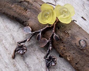 Jonquils    Spring   Yellow Flowers   Twigs   Woodland Wedding   Flower Earrings   Nature Lover   Earthy   Bridesmaid   Earrings under 20
