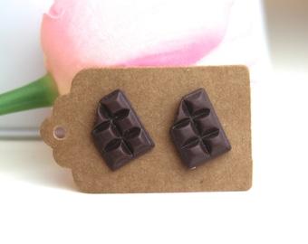 Chocolate bar earrings // kawaii earrings // cute unique earrings // pink donut earrings