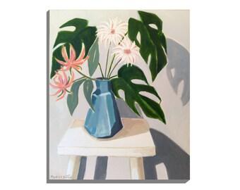 "Vase Flowers, Original Floral Art, ""Plant Stool"", Acrylic on Canvas"