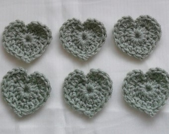 6 SMALL FROSTY GREEN Crocheted Heart Appliques Embellishments Valentines Scrapbook Sew On Glue