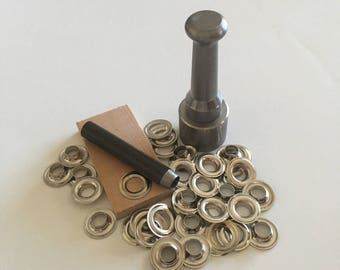 "NO. 00 ( 3/16"" ) Do it Yourself Grommet Kit With Nickel Grommets"