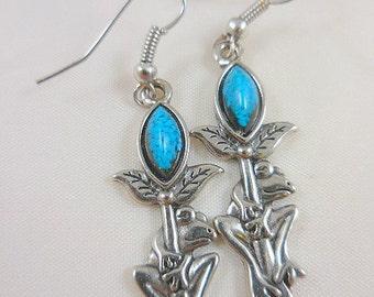 Turquoise Frog Dangle Earrings