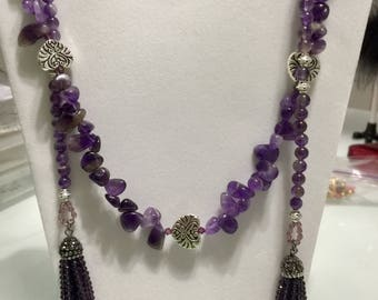 Amethyst Lariat Necklace