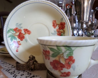 Lovley Golden Maize-Crescent China Company-Red Nasturtium Flower/Floral Cup & Saucer Set