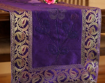Hand Painted 120-Inch by 17-Inch Long Table Runner (Plum Purple)