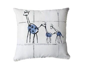 Giraffe Pillow Cover- Blue, Black and White