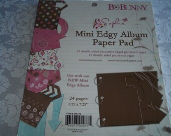 """Mini Edgy Album Paper Pad 6.25"""" x 7.25"""" by BoBunny 12 Double Sided Patterns"""