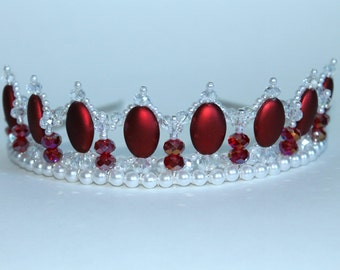 Beautiful Red Oval, Crystal and Pearl Princess Tiara