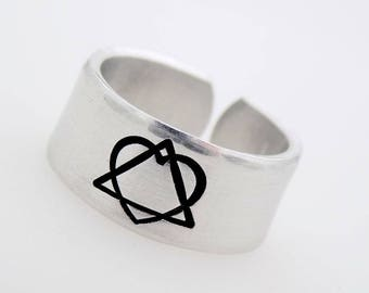 Adoption Symbol Ring, Stamped Metal Jewelry, Adjustable Ring, Re sizable Ring, Adoptee, Foster Parent Child, Adopted Parent, Adopted Sibling