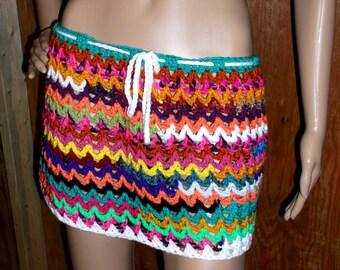 Hand Crochet Bikini Bottom Cover-up, Beach Cover up, swing Skirt, Swim Suite Cover up, Crochet Skirt, festival skirt, Bold and Bright Skirt