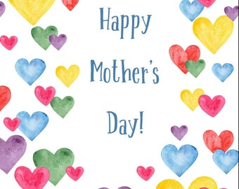 """Digital Watercolour Hearts Mother's Day Love Card 5 x 7"""" Digital Download. Print On A4 Card Cut To Size and Fold. Personal Use Only."""