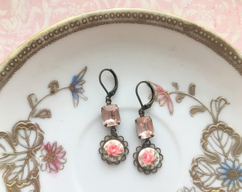 Faceted Pink Champagne Rectangle Rhinestone & Rose Cameo Drop Earrings, Vintage Glass Charms, Antique Bronze, Bridal Jewelry, Nickel Free