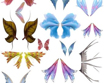 Butterfly Wings Dragon Fly or Fairy Wings Vibrant Pinks Blues Printable Collage Sheet PNG and JPEG Digital Download Vol 1