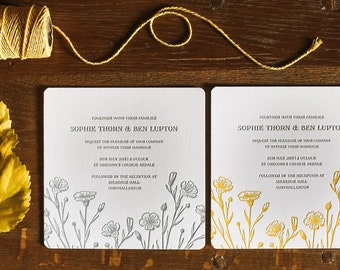 Letterpress Wedding Invitations, Modern, Simple, Floral Faye sample