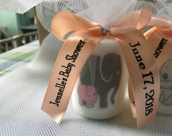 Neutral Baby Shower Favors,  Grey and pink elephant favors, Candle Favors,  Favors, Whale themed Favors, Baptism , Holy Communition Favors