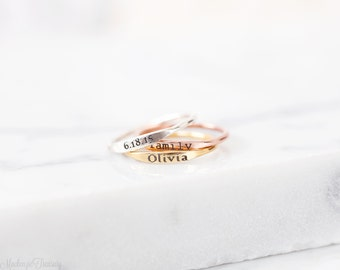 Skinny Name Ring - Mini Name Ring – Skinny Stackable Name Ring - Dainty Name Ring – Stacking Name Ring – Minimal Name Ring