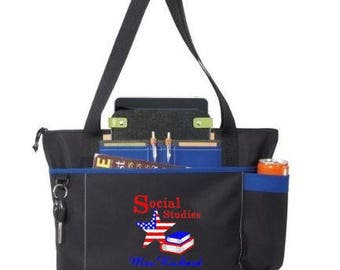 Free Shipping - Personalized Social Studies Teacher Tote Bag - Apple Books - More Colors - monogrammed