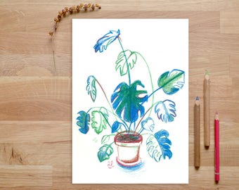Plant Print, tropical print, potted plant, plant illustration, art for office, art for bedroom, house plants, botanical print, botanical art
