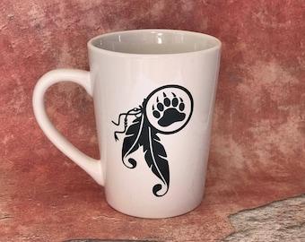 Bear paw mug, Bear paw coffee cup with feathers