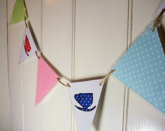 Teacup bunting, retro bunting, cup bunting, afternoon tea party, vintage teacups, retro bunting, teacup decor, party bunting,  gift for her