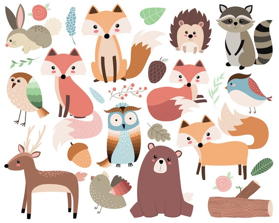 Woodland Forest Animals Clip Art 26 300 Dpi Vector Png