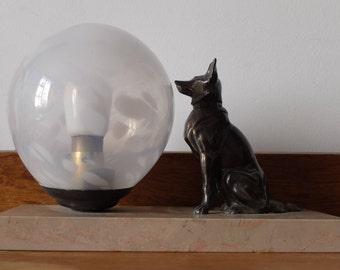 Art Deco, dog figurine night light