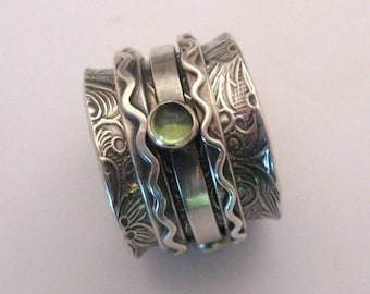 MADE TO ORDER - Harmony Wave Twiddle Spinner Ring with Gem Stones