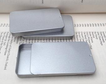 40ml Sliding Lid Tins, Rectangular Metal Tins, Silver Color, Flat Business Card Storage Box, (A Set Of 20 Tin Boxes)