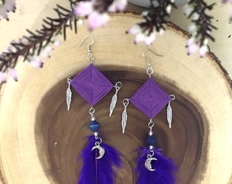Ojo de Dios Earring with Feather